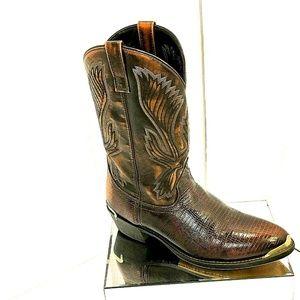 Size 12D  Lizard Print Brown Leather Cowboy Boots